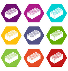 brick icons set 9 vector image