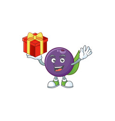 Bring gift acai berries character for fresh fruit vector