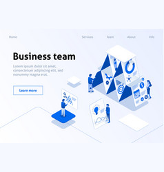 business team landing page isometric template vector image