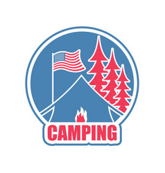 Camping logo tent camp emblem forest and tent vector