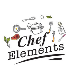 chef elements kitchenware white background vector image