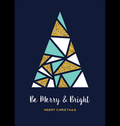 Christmas gold glitter abstract pine tree card vector