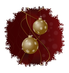 Christmas greeting card gold balls and snowflakes vector image
