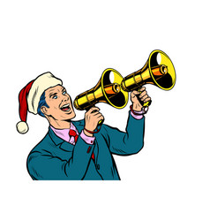 Christmas sale businessman advertises with vector