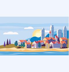 cityscape sea ocean seashore landscape with vector image