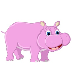 Cute hippo cartoon posing vector