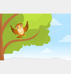 cute owl sitting on tree branch adorable owlet vector image