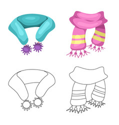 Design of scarf and shawl icon set of vector