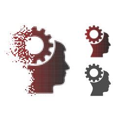 Disintegrating dot halftone thinking gear icon vector