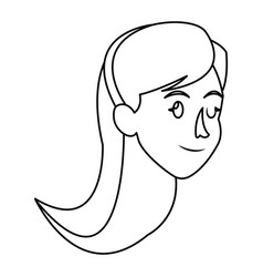 Face woman head long hair outline vector