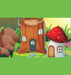 Fantasy wood scene background vector