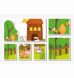 farm animals bull cow bees barn wooden fence grass vector image