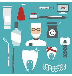 Flat design collection of dentistry theme vector