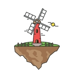 Flying island with a windmill Farmer building for vector image