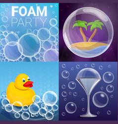 Foam effect banner set cartoon style vector
