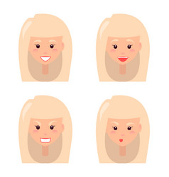 four female faces colorful vector image