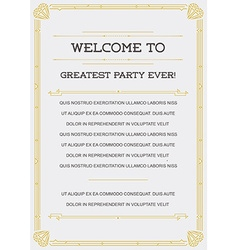 Gatsby Style Invitation in Art Deco or Nouveau vector