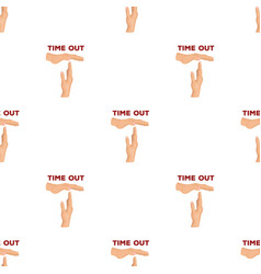 Gesture of a time outbasketball pattern icon in vector