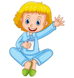 Girl in blue pajamas drinking milk vector