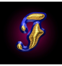 golden and blue letter f vector image