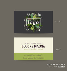 green business card with floral leaves background vector image