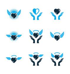 Guardian angel conceptual emblems collection vector
