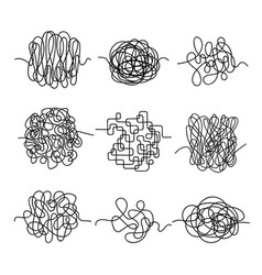 Hand drawn matted threads set messy chaos vector