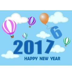 happy new year with balloon and cloud vector image