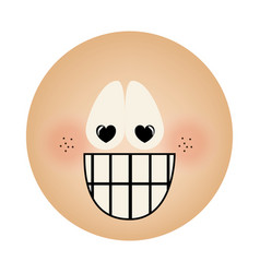 Human face emoticon crazy in love expression vector