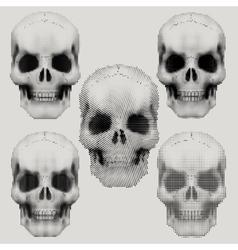 Human skulls in vintage halftone style vector image