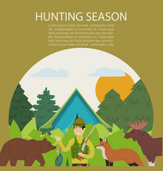 hunting animals in forest hunt vector image