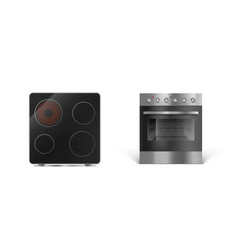 Induction cooking panel with oven electric stove vector