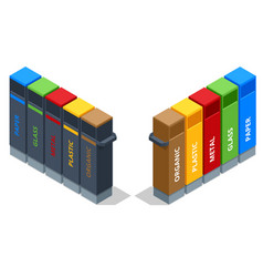 isometric garbage containers different types vector image