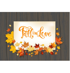 Lettering and fall leaves on dark vector