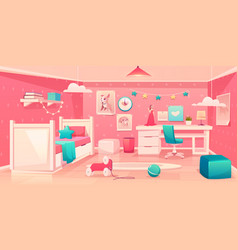 little girl bedroom cozy interior cartoon vector image