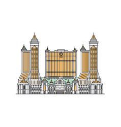 macau city sights silhouette icon sketch cartoon vector image