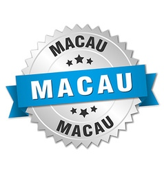 Macau round silver badge with blue ribbon vector