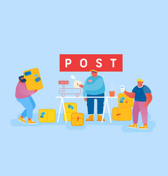 Mail delivery service postage customers at post vector