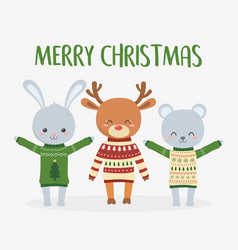 merry christmas celebration cute deer rabbit and vector image