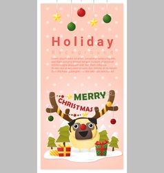 Merry Christmas Greeting banner with dog wearing vector