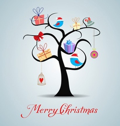 merry christmas tree and happy new year background vector image