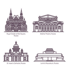 monuments russian architecture in thin line vector image
