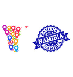 Mosaic map of namibia with map pointers and vector
