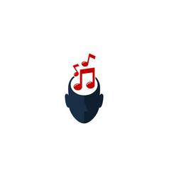 Music human head logo icon design vector