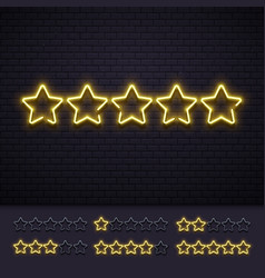 neon five stars golden illuminated star neons vector image