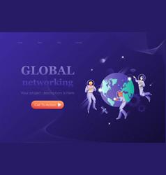 Networking metaphoric header template vector