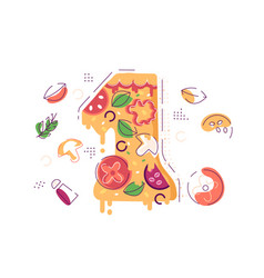 number one decorated as piece yummy pizza vector image