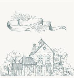 old farmhouse and garden border ribbon for text vector image