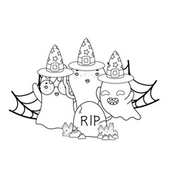 Outline ghosts with witch hat in the spiderweb and vector