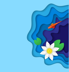 Paper fish and lily vector